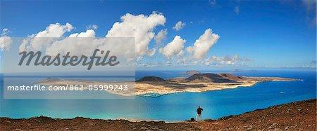 Île de Graciosa, vue depuis le Mirador del Rio. Lanzarote, îles Canaries