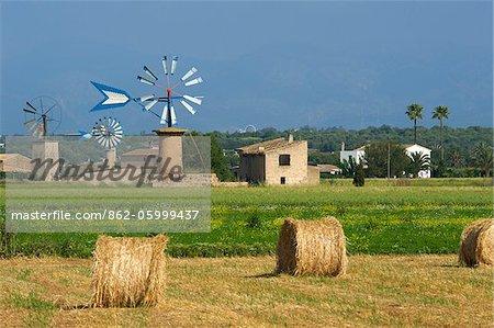 Windmills near Sant Jordi, Majorca, Balearic Islands, Spain