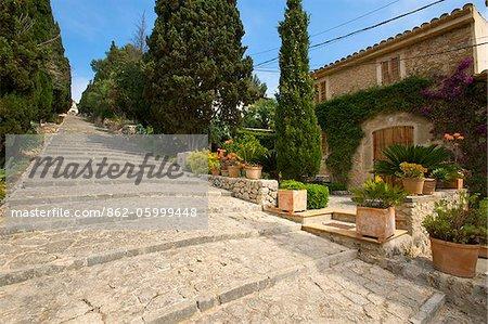 Treppe zum Cavari Berg in Pollenca, Mallorca, Balearen, Spanien