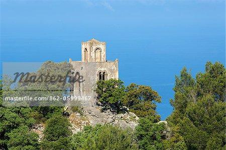 Tour fortifiée près de Valldemossa, Tramuntana, Majorque, îles Baléares, Espagne
