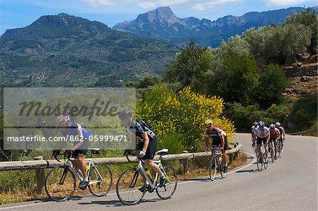 Biker Road in der Nähe von Soller, Tramuntana, Mallorca, Balearen, Spanien