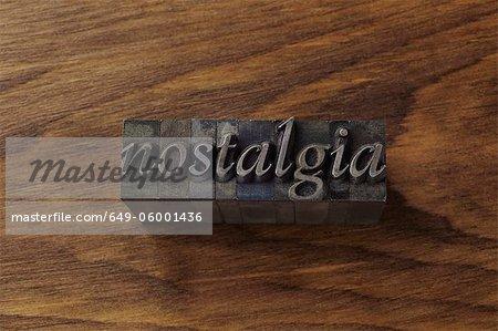 "Lead type spelling ""nostalgia"""