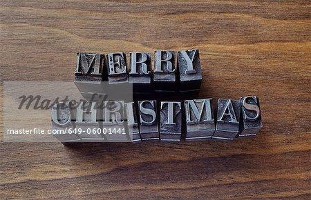 "Lead type spelling ""Merry Christmas"""