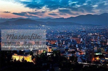 Paysage de nuit, Athènes, Grèce