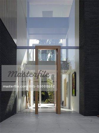 Double hauteur entrée Pond et Park House, Dulwich, Londres, Royaume-Uni. Architectes : Stephen Marshall
