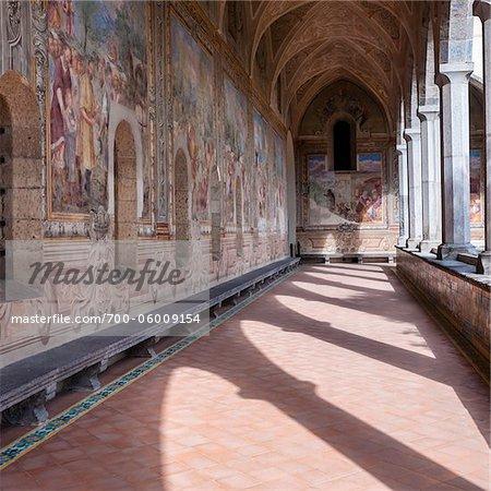 Cloître de Santa Chiara, Naples, Campanie, Italie