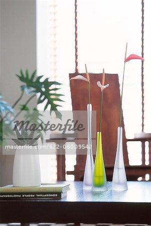 Plat en pot et fleurs Vase sur la Table