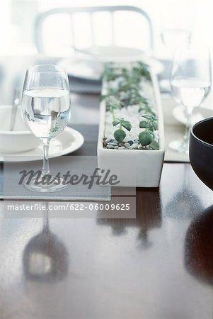 Cache-pot et vaisselle sur la Table à manger