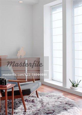 Sessel auf Teppich in der Nähe von Fenster