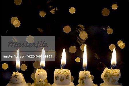 Lit Decorative Candles