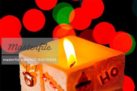 Close Up Of Burning Candle