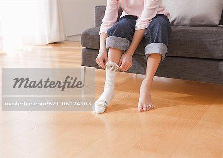 Enfant qui décollait chaussette