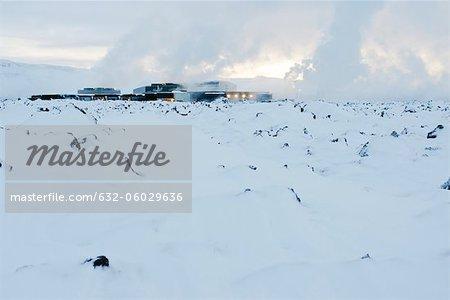 Iceland, Reykjanes Peninsula, Blue Lagoon, geothermal power station