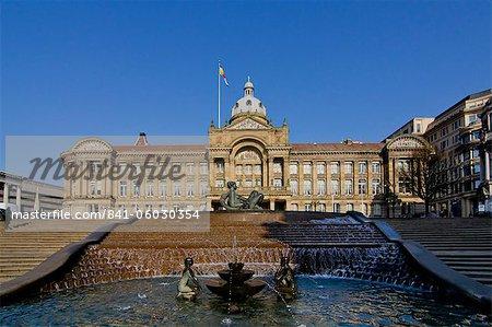 Mairie et Victoria Square, Birmingham, Midlands, Angleterre, Royaume-Uni, Europe