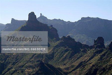 View to Roque Nublo near Tejeda, Gran Canaria, Canary Islands, Spain, Europe