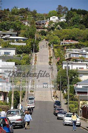 Rue plus raide du monde, Baldwin Street, Dunedin, Otago, île du Sud, Nouvelle-Zélande, Pacifique