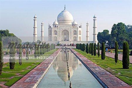 État de Taj Mahal, patrimoine mondial de l'UNESCO, Agra, Uttar Pradesh, Inde, Asie