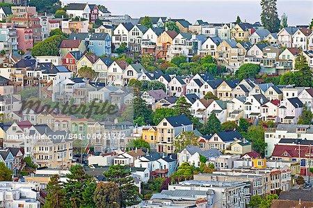 Victorien typique des maisons dans San Francisco, Californie, États-Unis d'Amérique, l'Amérique du Nord