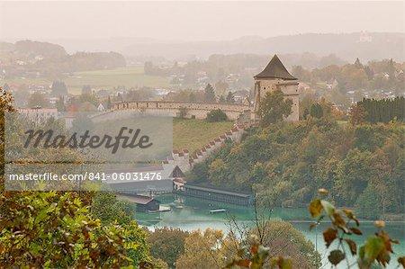 Aerial view of Burghausen from Burghausen Castle, Bavaria, Germany, Europe