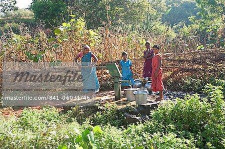 Village water pump, rural Orissa (Odisha), India, Asia
