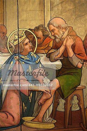 Tableau représentant Saint-Louis, laver les pieds d'une fosse dans la cathédrale de Notre Dame de Paris Musée du Trésor, Paris, France, Europe