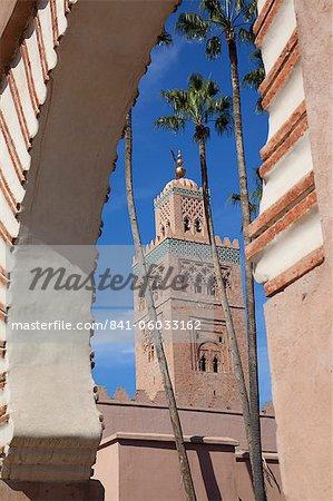 Minaret de la mosquée de la Koutoubia, Marrakech, Maroc, l'Afrique du Nord, l'Afrique