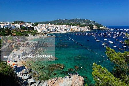 Calella de Palafrugell und Cap de St. Sebastia, Costa Brava, Katalonien, Spanien, Mittelmeer, Europa
