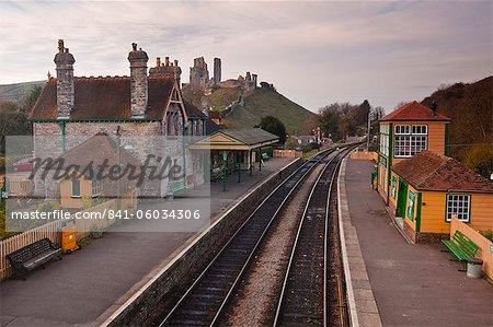 Looking across Corfe Castle station from the footbridge, Dorset, England, United Kingdom, Europe