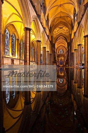 Blick über die Schriftart der Kathedrale von Salisbury, Wiltshire, England, Vereinigtes Königreich, Europa