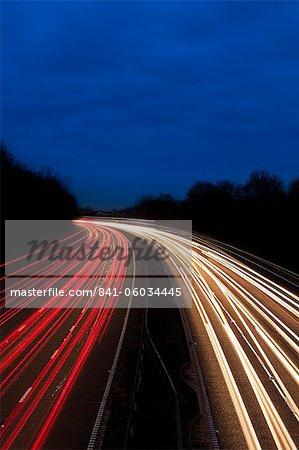 M6 Motorway at dusk near Juntion 13, Staffordshire, England, United Kingdom, Europe