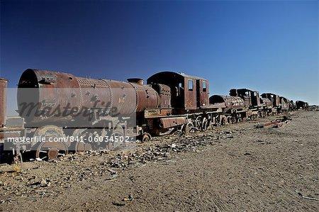 Rusting locomotive at train graveyard, Uyuni, Bolivia, South America