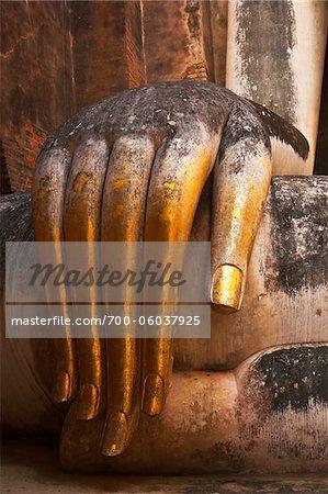 Gros plan de main, le Wat Si Chum, Royaume de Bouddha de Sukhothai, Sukhothai, Thaïlande