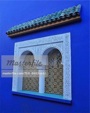Fenêtre de la maison bleue, Jardin Majorelle, Marrakech, Maroc