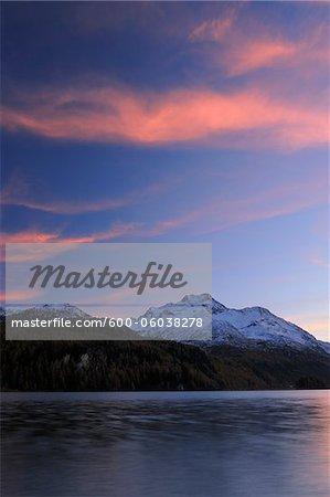 Sunset at Lake Sils with Piz da la Margna, St Moritz, Engadin, Maloja District, Graubunden, Switzerland