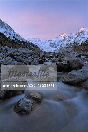View from Val Morteratsch to Morteratsch Glacier, Piz Morteratsch, Piz Bernina, Engadin, St Moritz, Graubunden, Switzerland