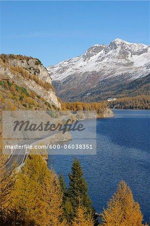 Straße entlang Silsersee im Herbst, Piz Surlej und Munt Arlas, St Moritz, Bezirk Maloja, Engadin, Graubünden, Schweiz