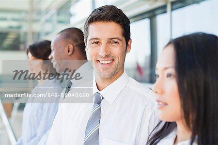 Close up of businessmans smiling face