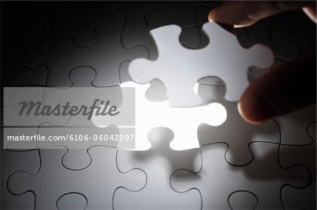 Teil des Puzzles wird festgelegt.