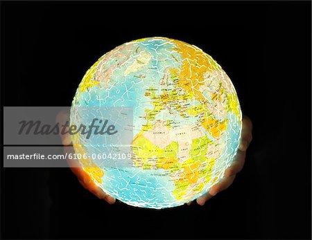 Globus Puzzle von innen Leuchten