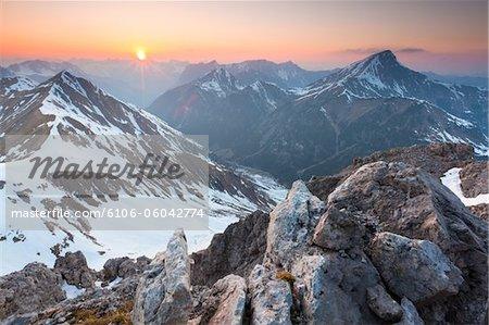 coucher du soleil au Mont falschkogel, Alpes de Lechtal, Tyrol
