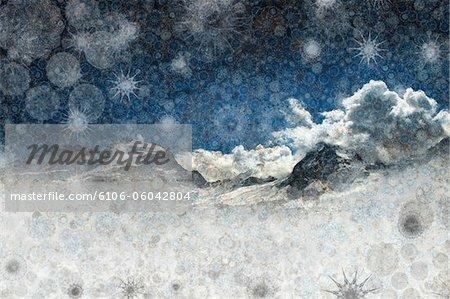 snow capped mountain ridge in a Winter blizzard