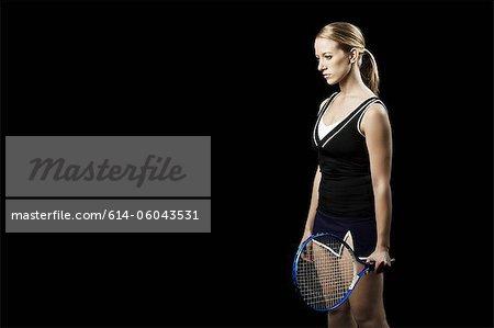 Contemplative tennis player