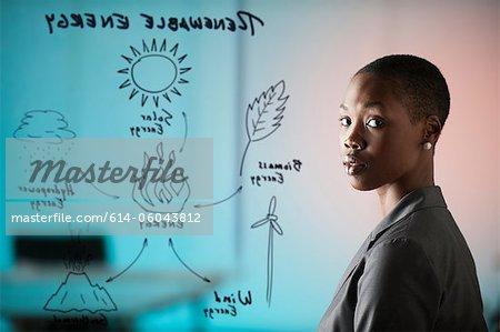 Junge Frau mit Diagramm-Fenster