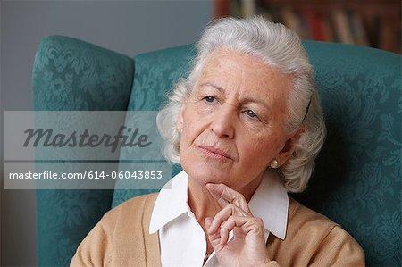 Pensive senior woman, portrait