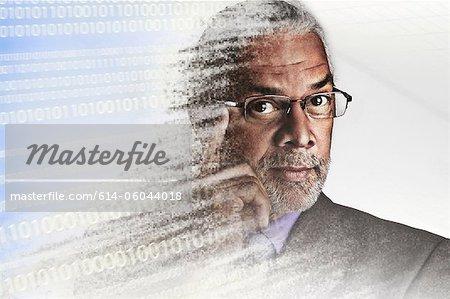 Portrait d'homme d'affaires de pixelisation