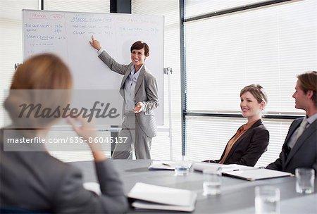 Geschäftsfrau am Whiteboard präsentieren Mitarbeiter