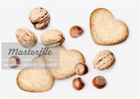 Heart-shaped hazelnut and walnut cookies