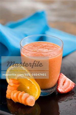 Carrot,strawberry and orange juice