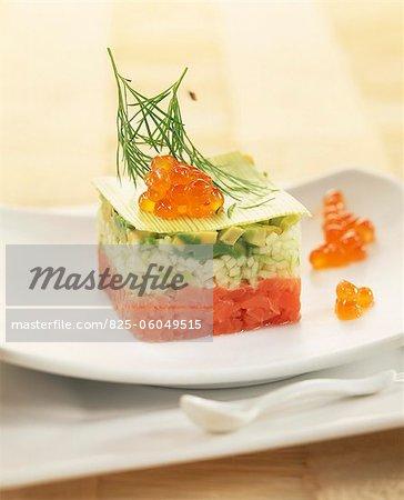 Salmon,zucchini and avocado Tartare appetizer