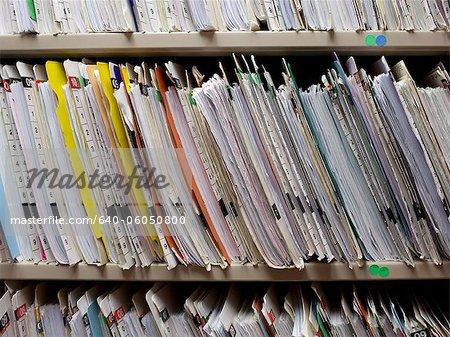 USA, Utah, Payson, Medical records on shelf